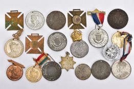 A BAG CONTAINING NINETEEN MISCELLANEOUS MEDALS, CORONATION CORPORATION, ETC