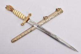 A POST WWII COPY OF A GERMAN KRIEGSMARINE OFFICERS DAGGER, blade has a circular RZM logo with M7/