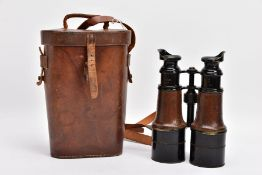 BOXED PAIR OF WWI ERA FIELD BINOCULARS, fully working and fully marked 7625 by Ross London, crow