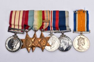 A GROUP OF SIX WWII ERA MEDALS ON A WEARING BAR, as follows: Naval General Service Medal Bar