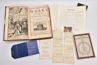 AN ARCHIVE OF MINIATURE MEDALS AND ORIGINAL PAPERWORK ATTRIBUTED TO A SOLDIER IN THE 'QUEENS'