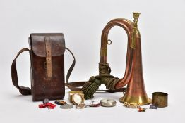 ARMY STYLE BUGLE, copper and brass with attached mouthpiece and green corded knot, together with a