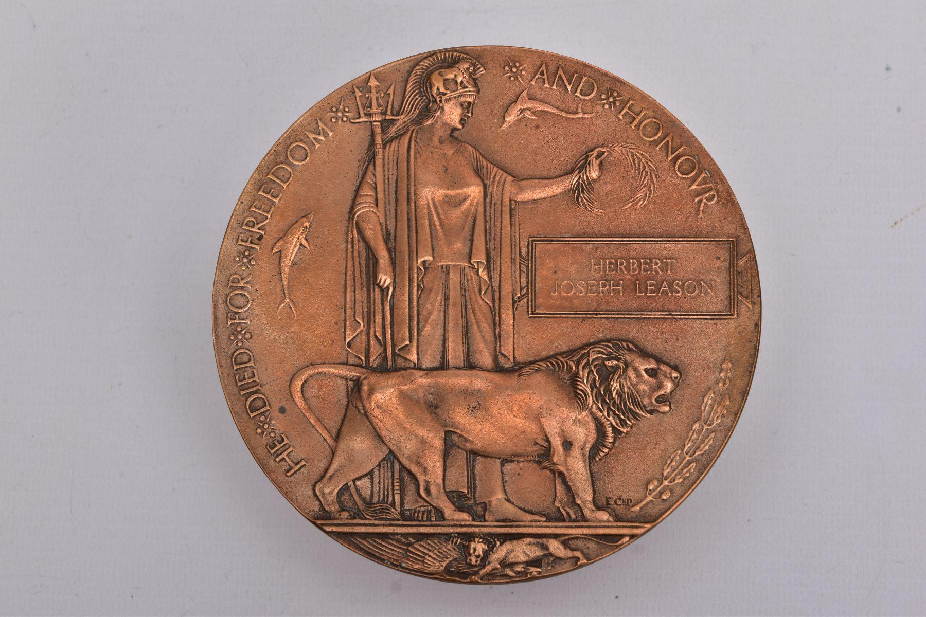 A WWI MEMORIAL DEATH PLAQUE, named Herbert Joseph Leason, Herbert was the son of Arthur & Eliza