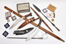A BOX CONTAINING A NUMBER OF MILITARIA ITEMS AND COINS AS FOLLOWS:- Military Pacing Stick, brass