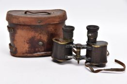 A BOXED PAIR OF WWI ERA FIELD BINOCULARS BY AICHISON OF LONDON, the strap has perished and broken in