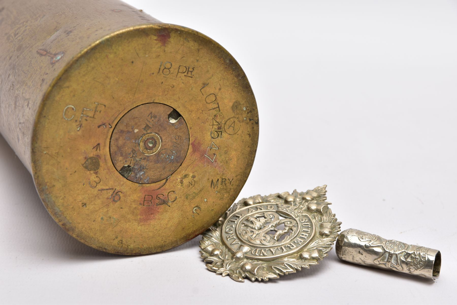 A WWI ERA 18LB SHELL CASE which has a cut out petal style around rim, together with silver - Image 6 of 6