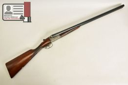 A 12 BORE SIDE BY SIDE DOUBLE BARREL DOUBLE TRIGGER AYA No 4 boxlock ejector shotgun chambered for
