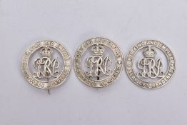 THREE 'FOR KING & EMPIRE SERVICES' RENDERED BADGES IN BRIGHT SILVER COLOUR, all three are