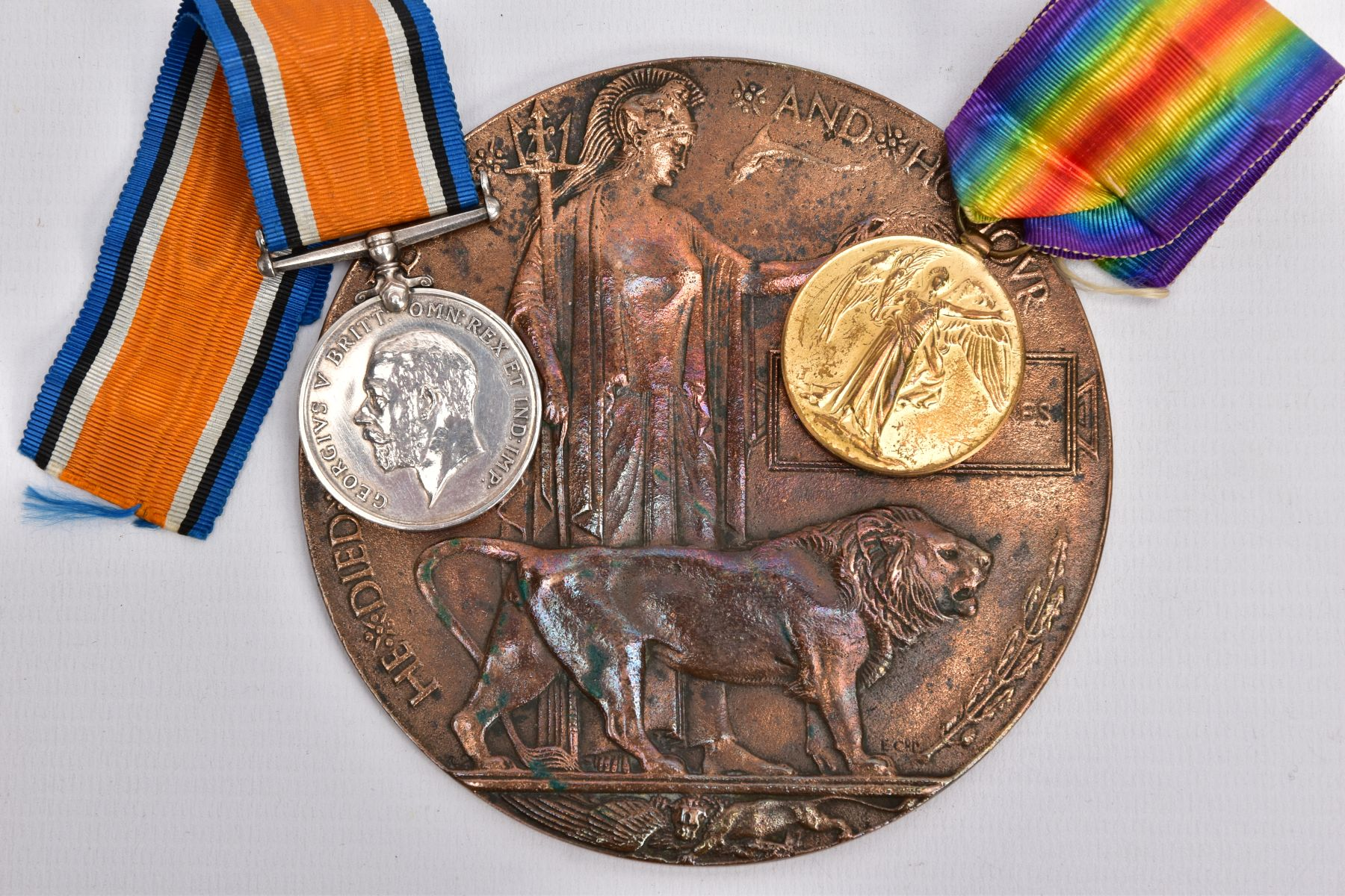 A WWI MEMORIAL DEATH PLAQUE named George Haynes, together with a British War and Victory medal named - Image 2 of 4