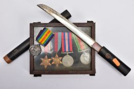 A SMALL GLAZED FRAME OF WWII MEDALS to include 1939-45, Burma Stars, Defence & War Medal, together