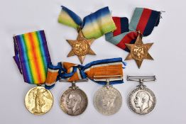 SIX BRITISH MEDALS SPANNING WWI/II to include a British War medal and Victory medal, pair named to
