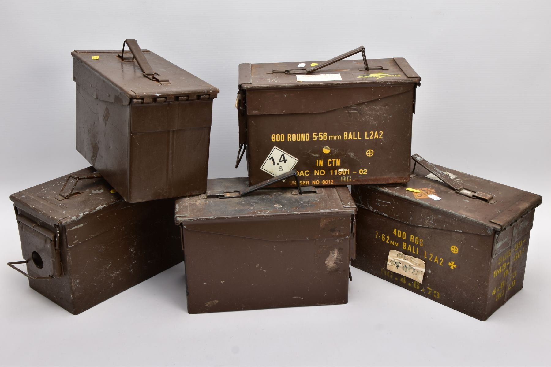 FIVE METAL MILITARY AMMUNITION BOXES WWII and later era, two of them being marked 5.56mm and 7.62mm, - Image 2 of 3