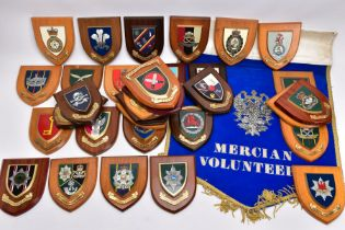 THIRTY FOUR WOODEN WALL PLAQUES RELATING TO BRITISH ARMY UNITS AND REGIMENTS, both past and present,