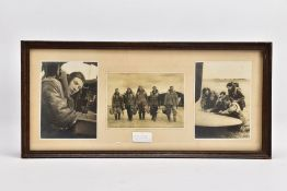 A GLAZED FRAME CONTAINING THREE BLACK AND WHITE PHOTOS OF RAF WWII AIRCREW, one of the Airman
