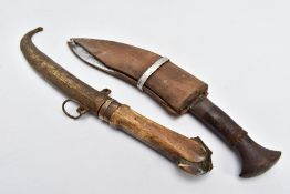TWO MIDDLE EASTERN? ASIAN KUKRI STYLE DAGGERS with scabbards, poor condition, one with metal