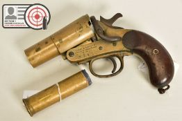 A 1'' WEBLEY & SCOTT MK II FLARE/SIGNAL PISTOL, made in 1918 and bearing military proof marks, it