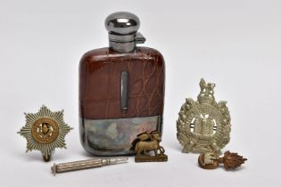 A SILVER PLATED AND LEATHER HIP FLASK, nicely made by 'Despatch' England 3.5oz, together with four