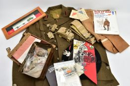 A BOX CONTAINING SEVERAL ITEMS OF MILITARIA relating to Polish Forces in WWII and other