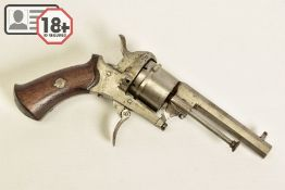 A 7MM PIN-FIRE POCKET REVOLVER fitted with a folding trigger, it is fitted with a two piece set of