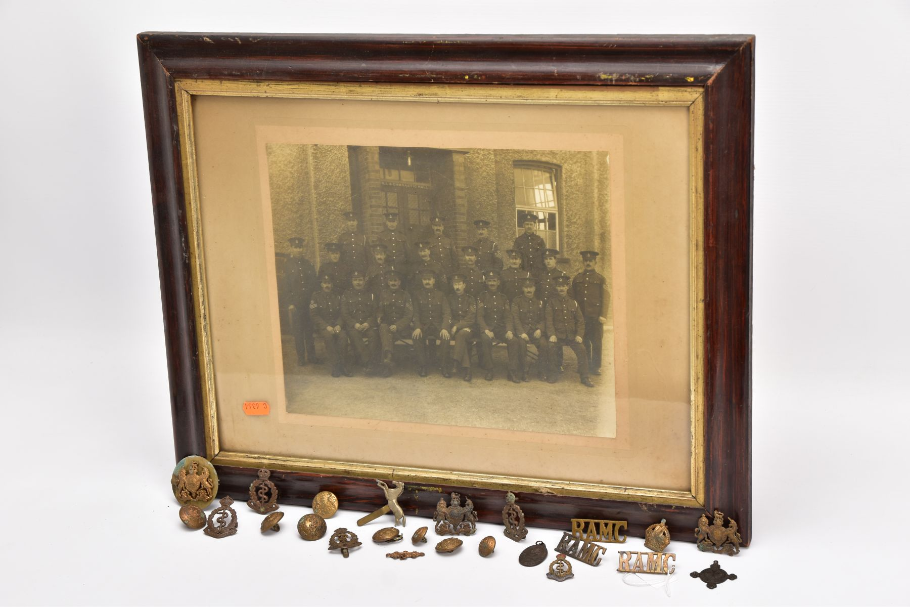 A LARGE GLAZED FRAME WITH A WWI PERIOD PHOTO OF A COMPANY OF SOLDIERS, in uniform, believed RAMC, - Image 8 of 8