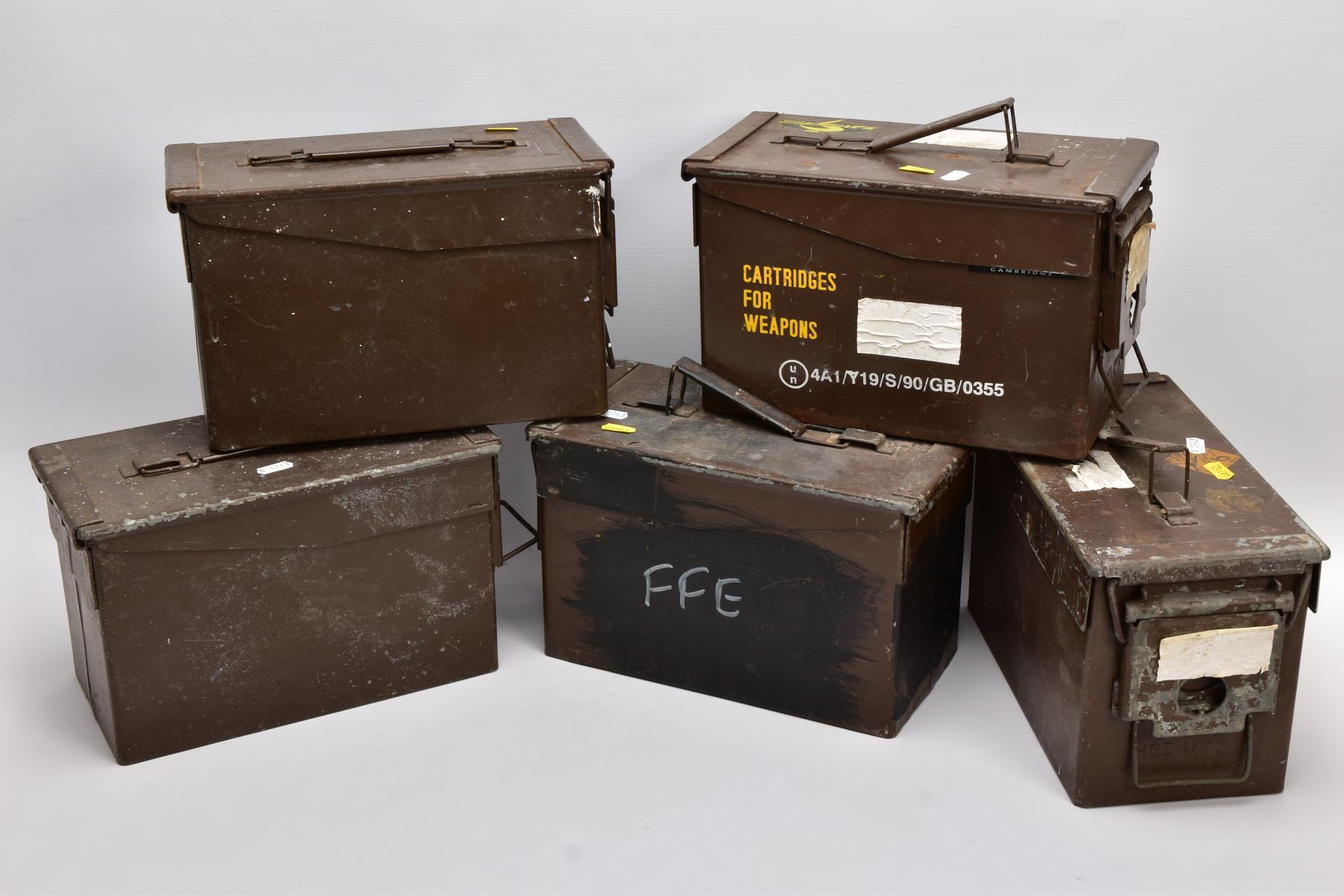 FIVE METAL MILITARY AMMUNITION BOXES WWII and later era, two of them being marked 5.56mm and 7.62mm,