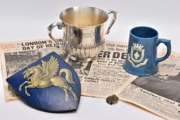 A BOX CONTAINING A LARGE SILVER PLATED CUP ENGRAVED TO FRONT, '13th Battery, 1st F.A.V. Corps,