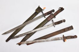 THREE WWI ERA US ISSUE RIFLE BAYONETS, all by Remington, all with proof marks, makers stamps, two