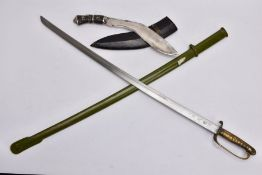 A CHINESE? POST WWII PATTERN MILITARY SWORD AND GREEN PAINTED METAL SCABBARD, the blade is