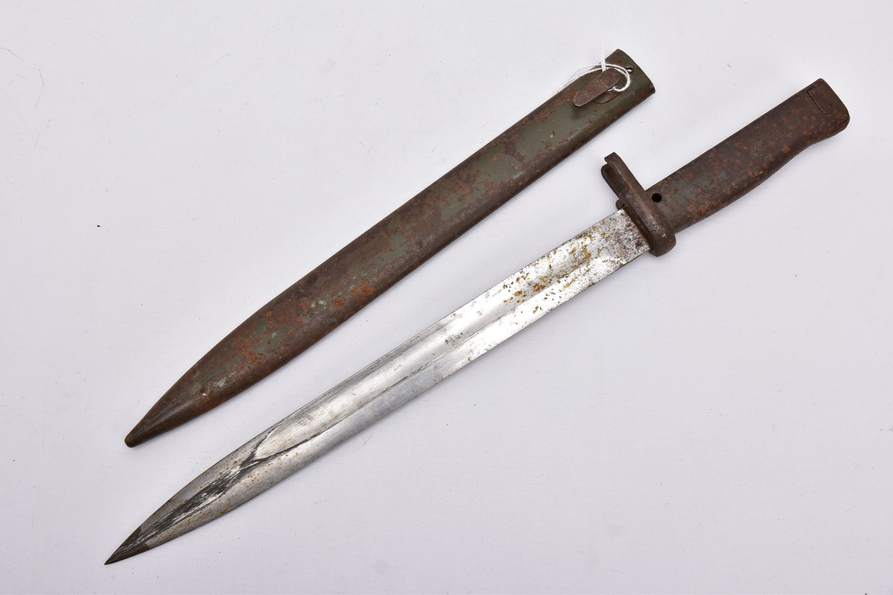A GERMAN ERSATZ BAYONET AND SCABBARD, this example believed to be the shortened Turkish variant,