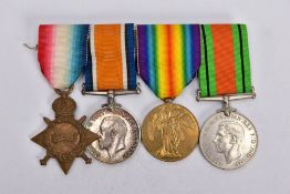 A WEARING BAR GROUP OF WWI/II MEDALS to include a 1914-15 Star/British War and Victory medal named