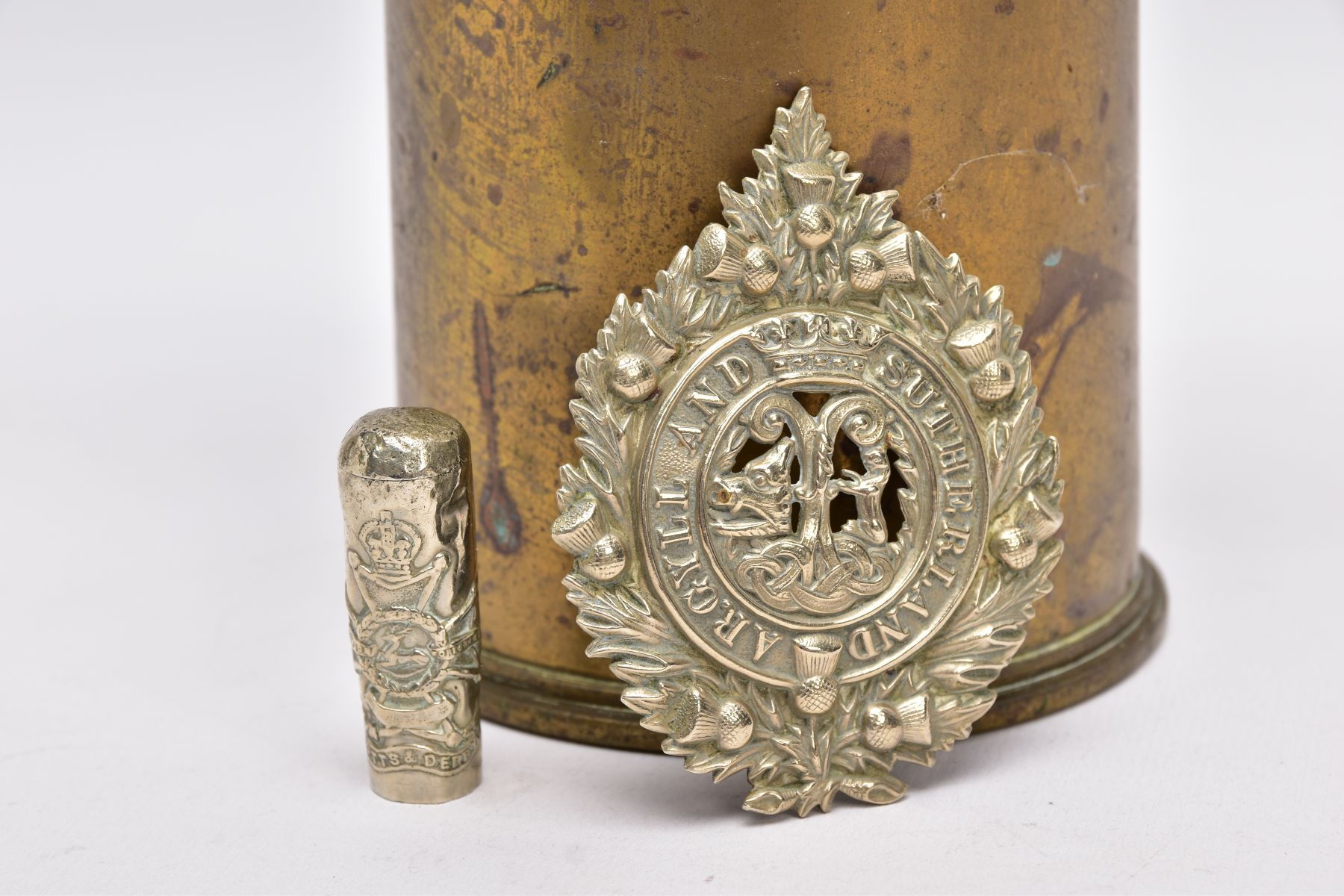 A WWI ERA 18LB SHELL CASE which has a cut out petal style around rim, together with silver - Image 2 of 6