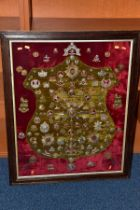 A LARGE PERIOD GLAZED FRAME 98CM X 80CM, which has a red velvet back, and has a slightly smaller