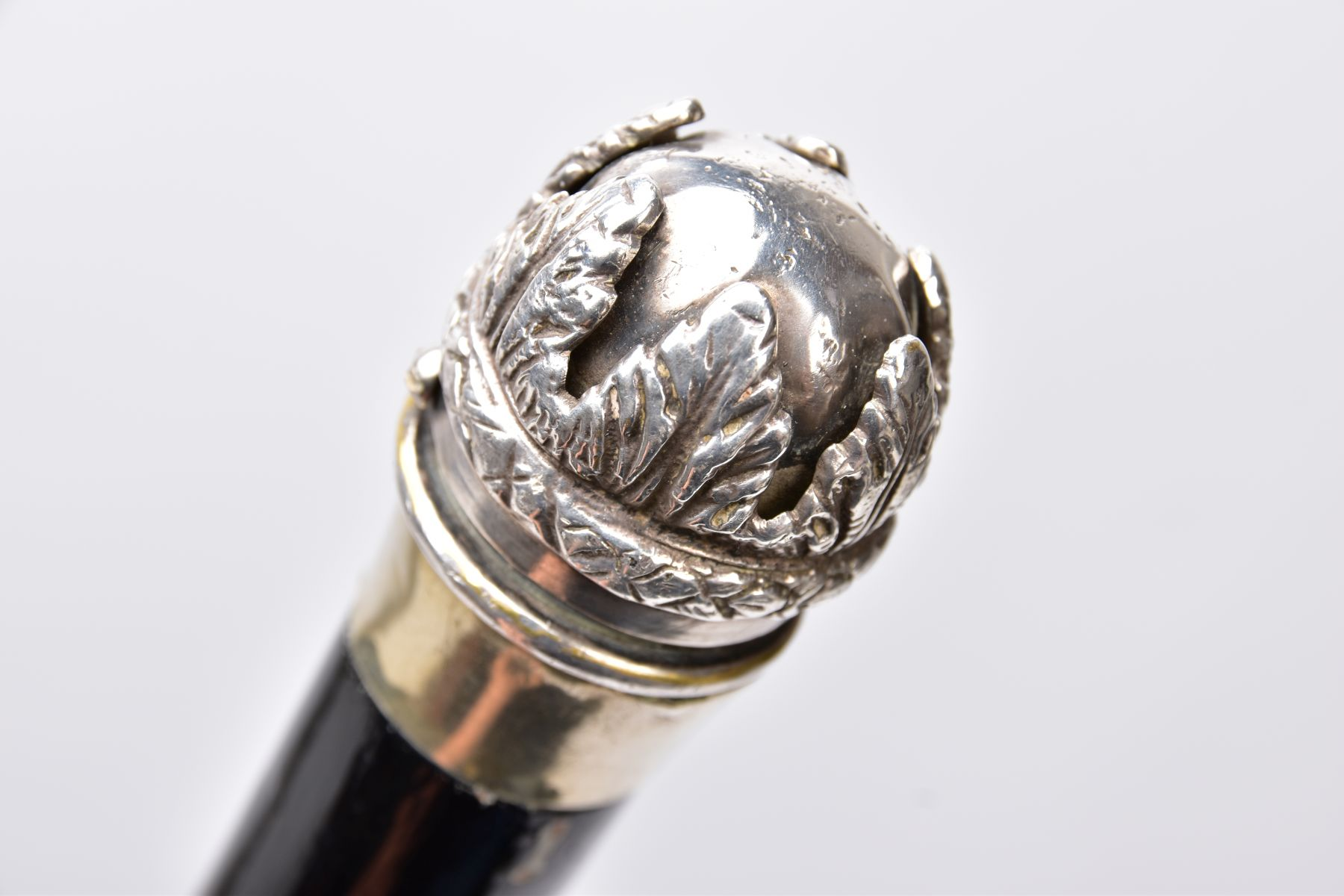 TWO MILITARY RELATED SWAGGER STYLE STICKS, to include a white metal sphere topped with white metal - Image 8 of 9