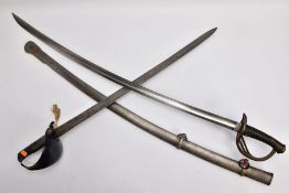 TWO MILITARY RELATED SWORDS, to include a large curved sword with metal silver coloured scabbard,