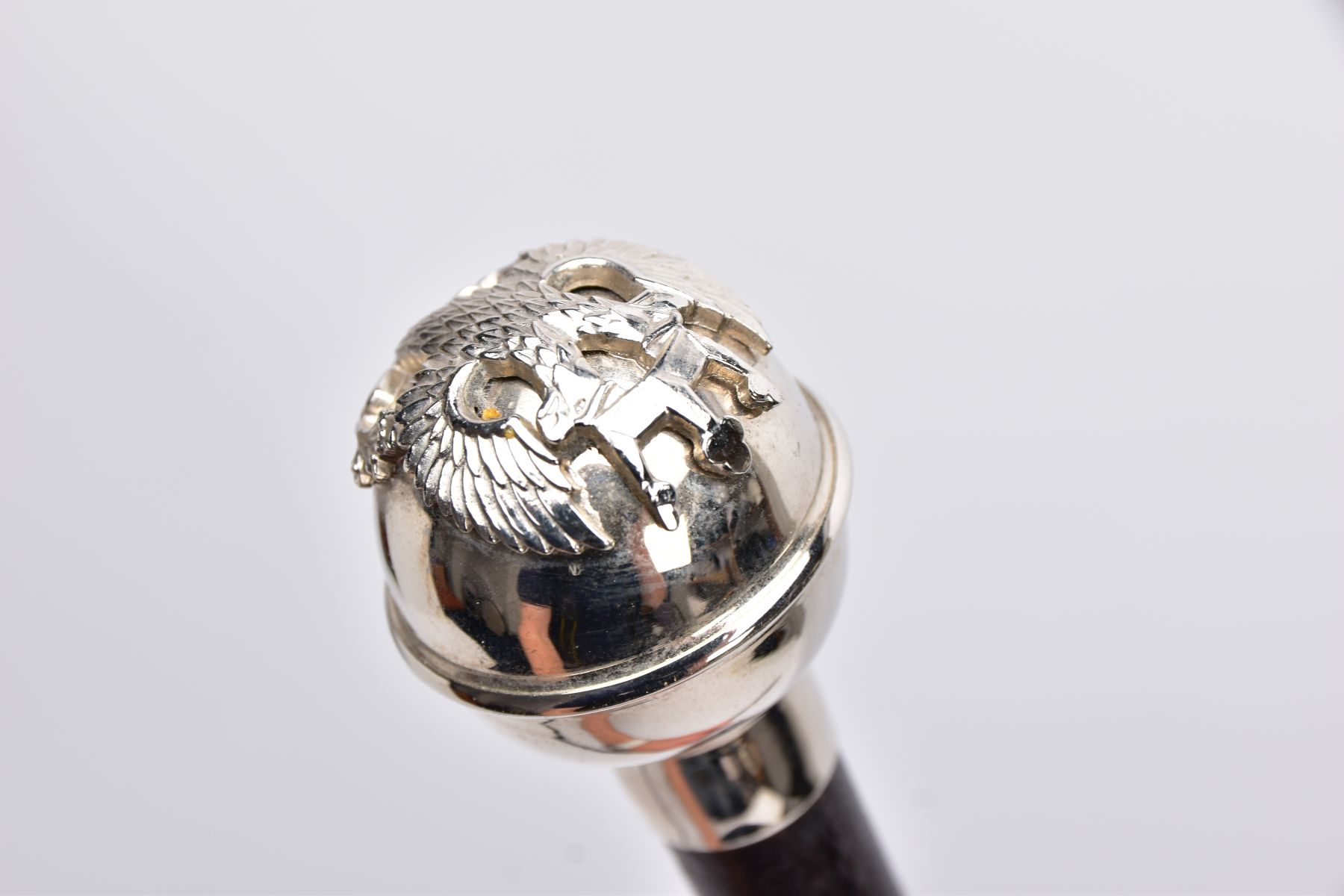TWO MILITARY RELATED SWAGGER STYLE STICKS, to include a white metal sphere topped with white metal - Image 6 of 9