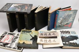 A LARGE BOX CONTAINING ELEVEN BOOKS OF MILITARY INTEREST, to include Vietnam War, Falklands War,