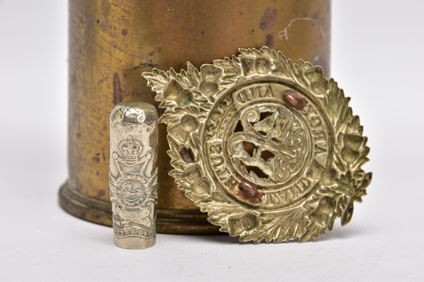 A WWI ERA 18LB SHELL CASE which has a cut out petal style around rim, together with silver - Image 3 of 6