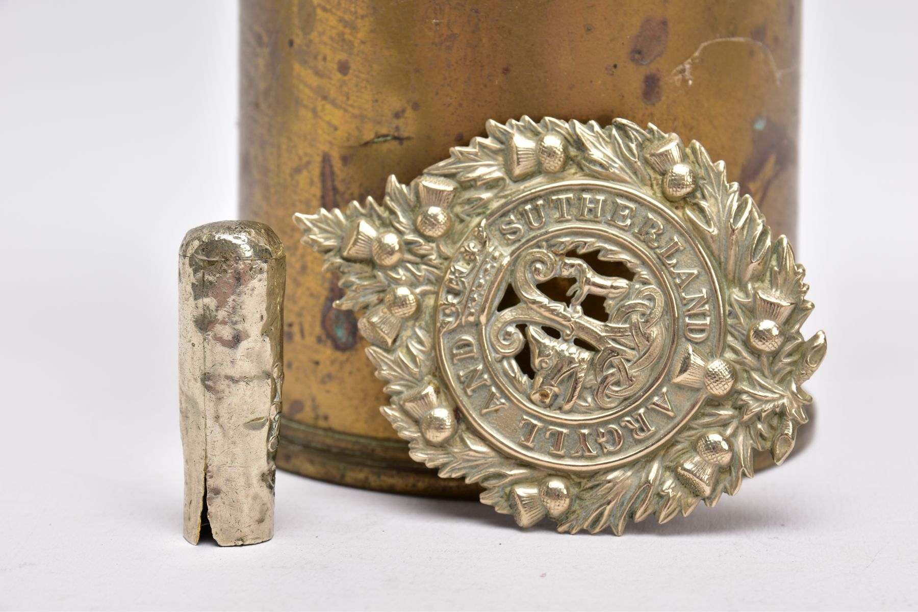 A WWI ERA 18LB SHELL CASE which has a cut out petal style around rim, together with silver - Image 4 of 6