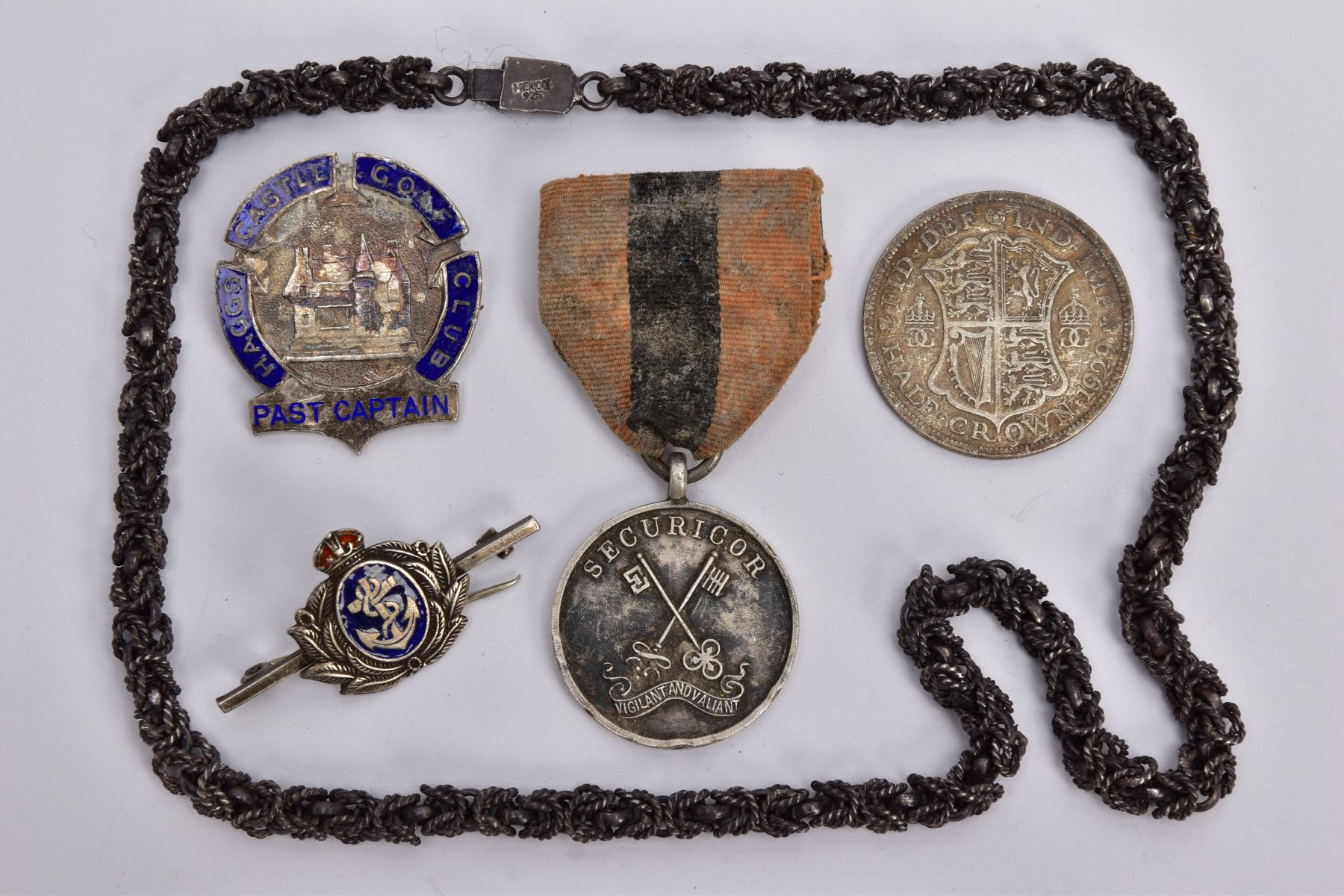 A STAMPED MEXICO 925 NECK CHAIN, tarnished, Haggs Castle Gold Club past captain badge (hallmarked)