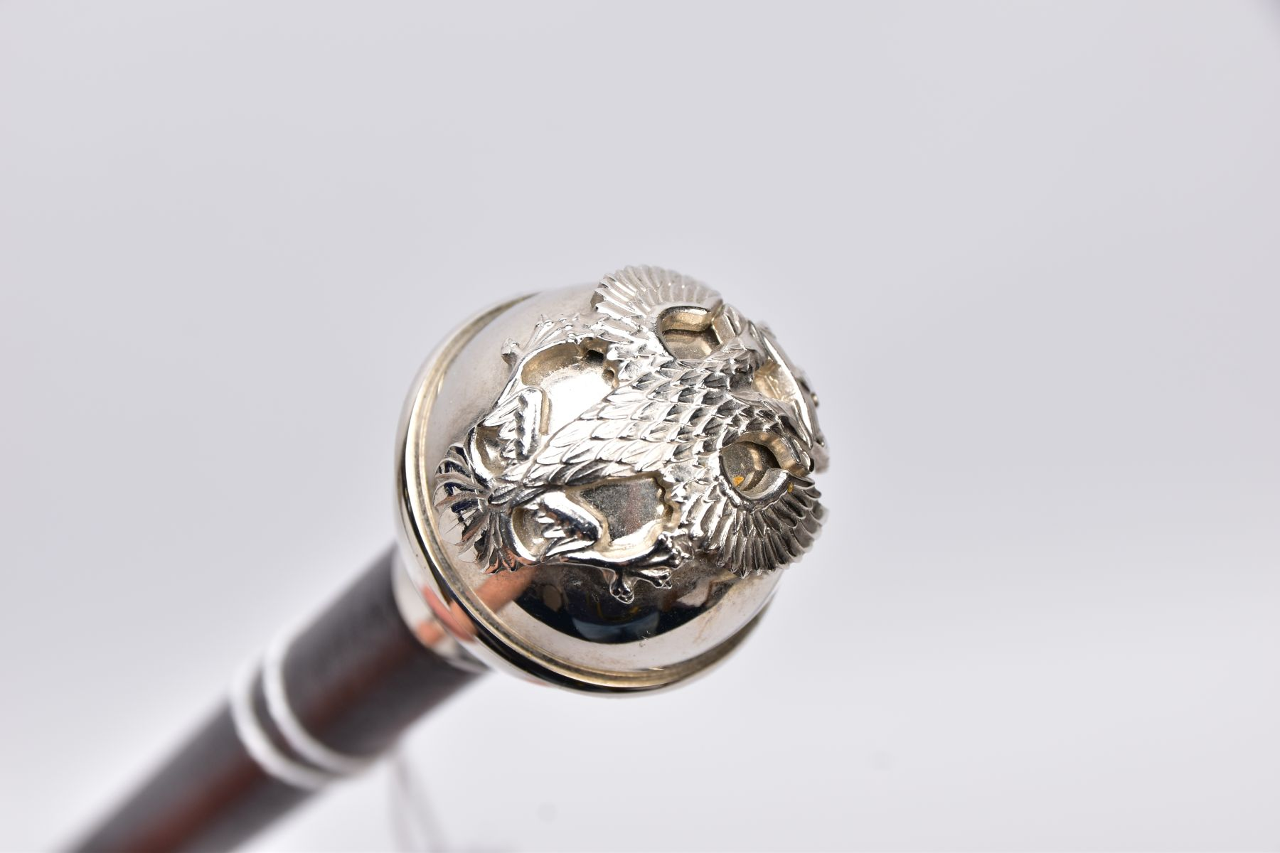 TWO MILITARY RELATED SWAGGER STYLE STICKS, to include a white metal sphere topped with white metal - Image 5 of 9