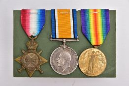 A WWI 1914-15 STAR TRIO OF MEDALS named to 90249 FTR (Fitter) H.J.Wood. RFA. Cpl on Pair
