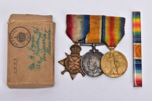 A BAR MOUNTED WWI 1914-15 STAR TRIO OF MEDALS NAMED TO 236127 H.KENYON, Royal Navy, together with