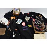 A BOX CONTAINING ITEMS OF A BRITISH RED CROSS INTEREST, two British Red Cross uniform jackets with