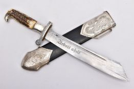 AN EXAMPLE OF A WWII GERMAN R.A.D. EM DAGGER AND SCABBARD, 'Arbeit Adelt' engraved to blade, the