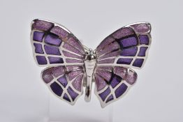 A WHITE METAL ENAMELLED BUTTERFLY BROOCH, designed with purple guilloche enamelled wings, fitted