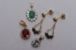 A PAIR OF 9CT GOLD SAPPHIRE AND DIAMOND DROP EARRINGS, TWO 9CT GOLD GEM SET PENDANTS AND A YELLOW