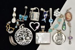 A BOX OF ASSORTED WHITE METAL PENDANTS AND A BELLY BUTTON BAR, in various forms such as a white