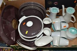 A QUANTITY OF POOLE POTTERY DINNER AND COFFEE WARES comprising a dark brown twin tone Poole