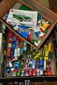A QUANTITY OF UNBOXED AND ASSORTED PLAYWORN DIECAST VEHICLES, to include Spot-On-Fiat 500 No. 185,