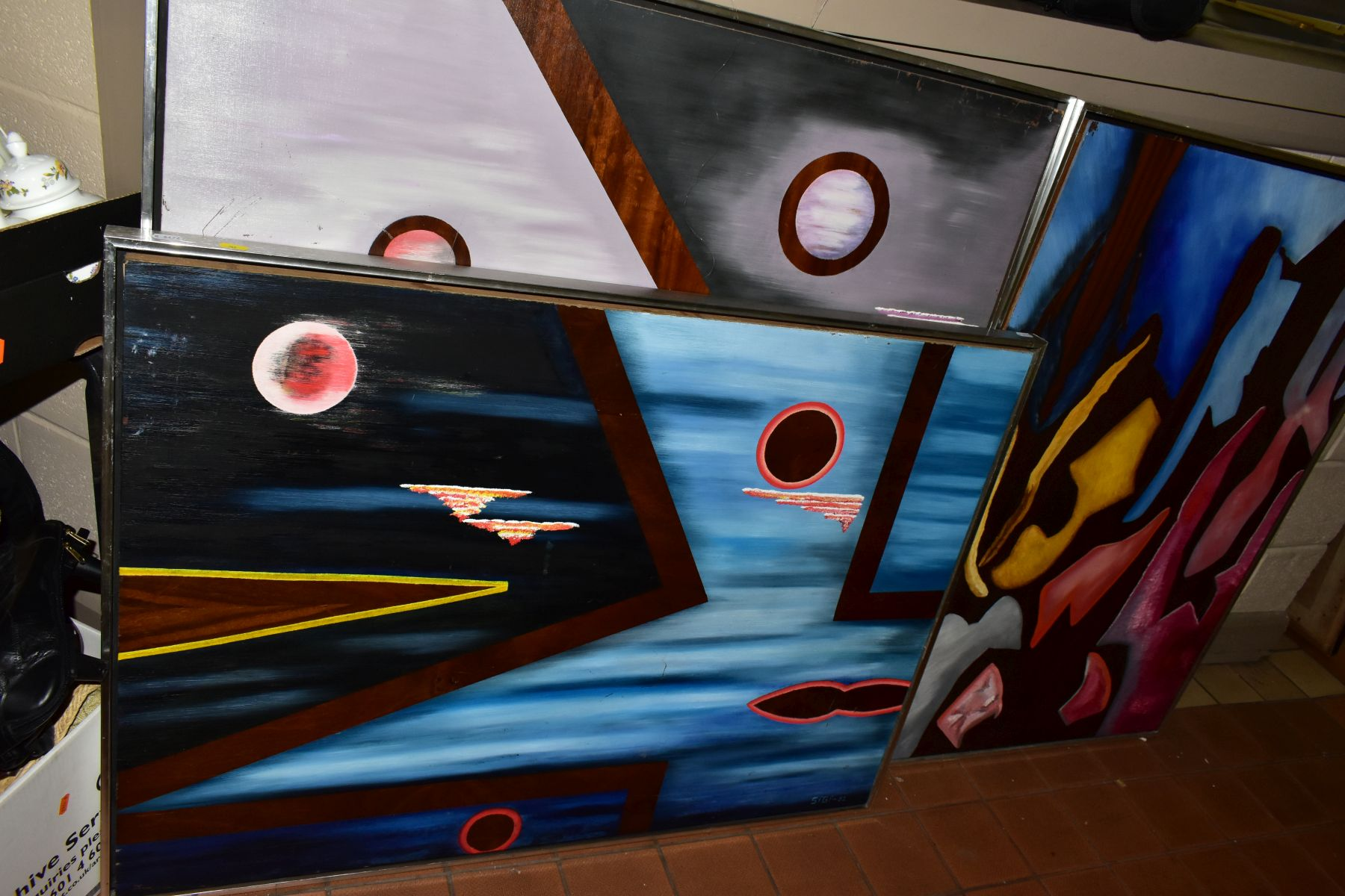 THREE ABSTRACT EXPRESSIONIST OILS ON BOARD, signed Sigi and dated 1980, 1981 and 1982, largest - Image 2 of 6